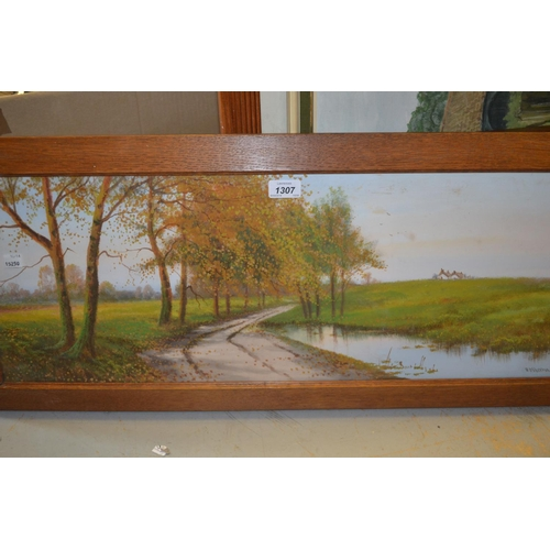 1307 - R.D. Sherrin, mixed media, country scene with lane beside a pond, 12ins x 28ins, oak framed...