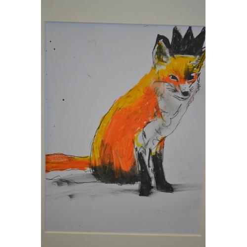 1329 - Michael Gehry, modern watercolour of a fox, framed...