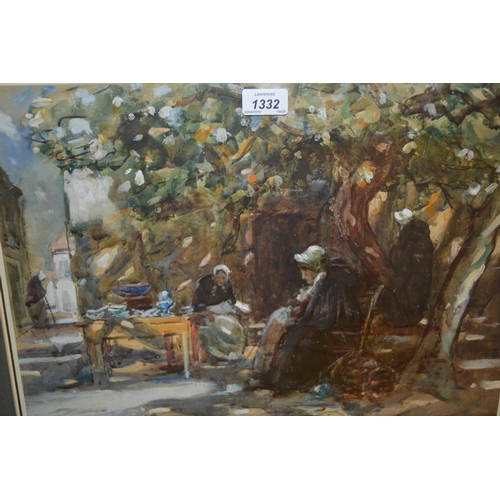 1332 - Thomas William Morley, watercolour, a Breton market scene, signed and dated '16, 13.5ins x 18.5ins, ...