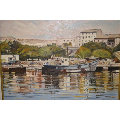1335 - M. Berlanga, two oils on canvas, Mediterranean harbour scene, signed, 17ins x 21ins and, sailing boa...