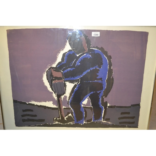 1340 - Josef Herman, signed Limited Edition colour print, ' Figure Against a Dark Sky ', No. 67 of 70, 21in...