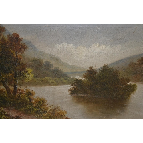 1341 - 19th Century oil on canvas, river landscape, signed Linton, together with another study of water bir...