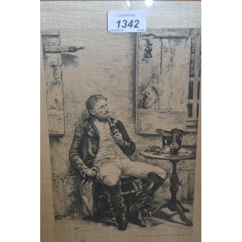 1342 - Pair of framed black and white engravings printed on silk after Meissonier, signed by the engravers...
