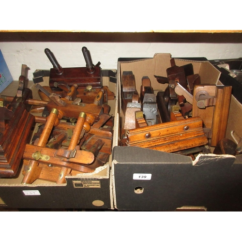139 - Box containing a quantity of 19th Century wooden planes, another box containing a quantity of variou...