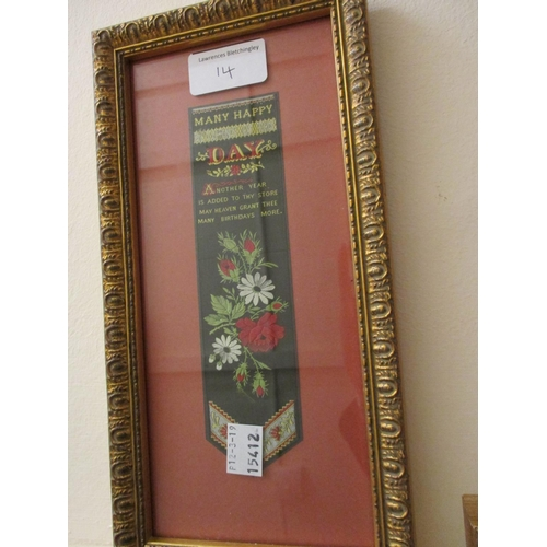 14 - Two gilt framed silk bookmarks...