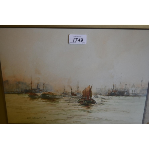 1749 - Frank Clifford, watercolour, ' London's River ', signed and dated 1920, 9.5ins x 13.5ins, gilt frame...