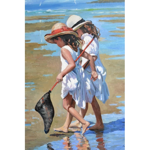 1750 - Sherree Valentine Daines, oil on board, two girls with a fishing net in a summer beach scene, low ti...