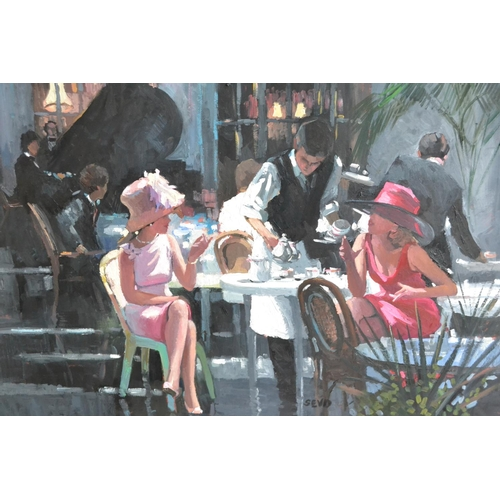 1751 - Sherree Valentine Daines, oil on board, ladies taking tea in a restaurant, a figure at a grand piano...
