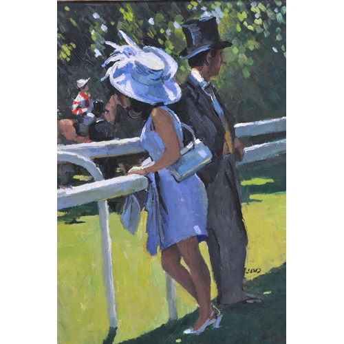 1752 - Sherree Valentine Daines, oil on board, Ladies Day at Ascot with a couple in morning dress leaning o...