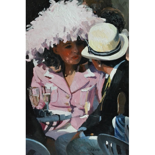 1753 - Sherree Valentine Daines, oil on board, Ladies Day at Ascot with a smartly dressed couple seated dri...