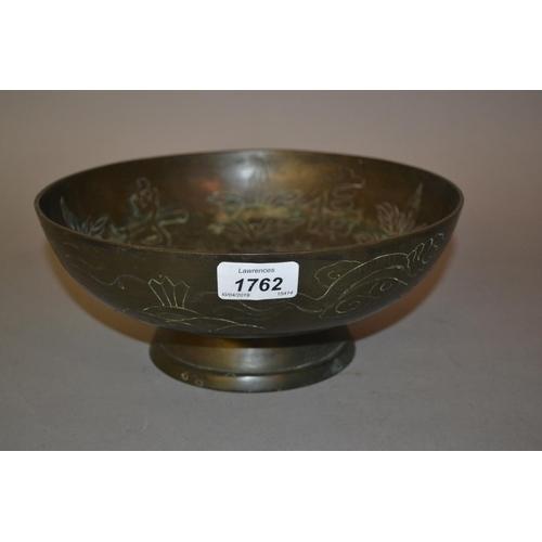 1762 - Chinese brown patinated bronze pedestal bowl...