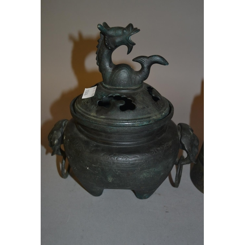 1772 - Oriental bronze censer, the cover mounted with a mythical beast, having elephants head and ring hand...