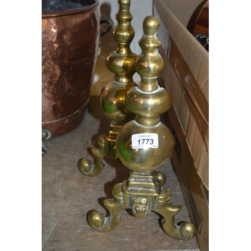 1773 - Pair of cast brass and wrought iron fire dogs...