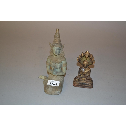 1783 - Green patinated metal figure of a Thai princess, together with a small patinated bronze Buddha figur...