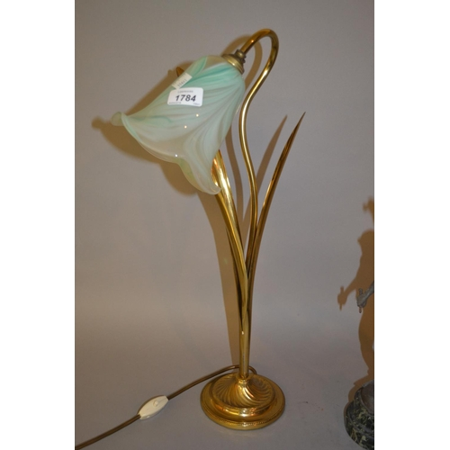 1784 - Brass lily form table lamp with a mottled glass shade, the shade indistinctly signed Sankey...