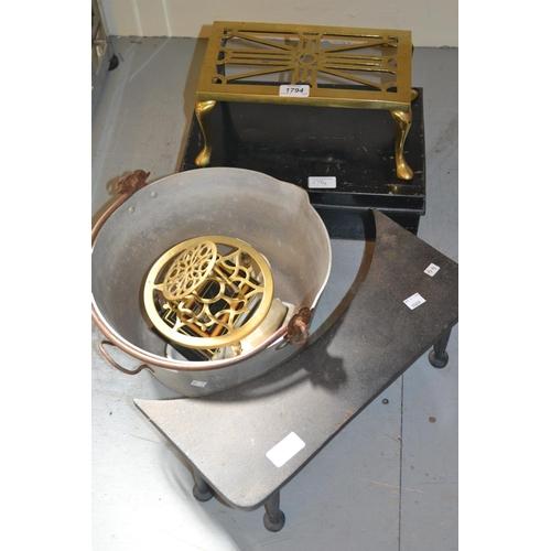 1794 - Rectangular brass trivit, circular trivit, iron trivit, aluminium preserve pan, two cash boxes etc....
