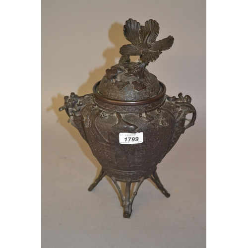 1799 - Japanese bronze two handled koro and cover having bird and floral cast decoration and stylised bambo...