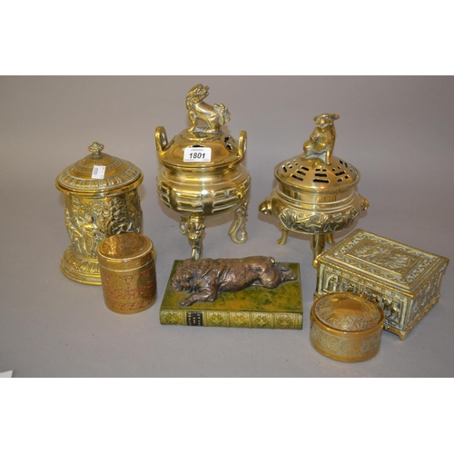 1801 - Two brass koros with covers, four various brass boxes and a composite paperweight...