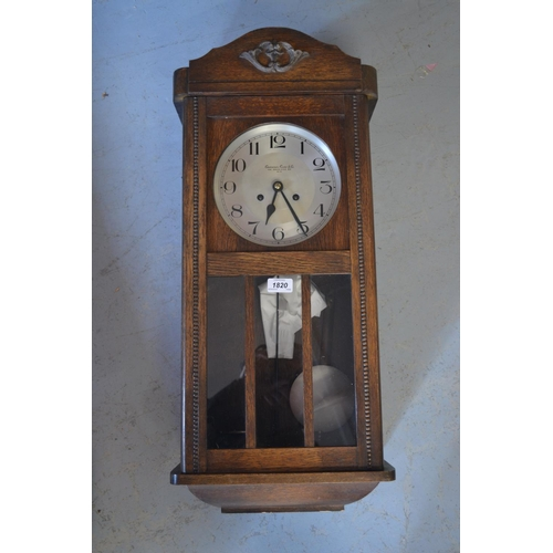 1820 - 1920's Oak cased two train wall clock, the dial inscribed Camerer Cuss and Co., 186 Uxbridge Road, W...
