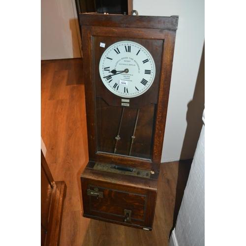 1826 - Gledhill Brook Ltd, oak cased ' Time Recorder ' clock...