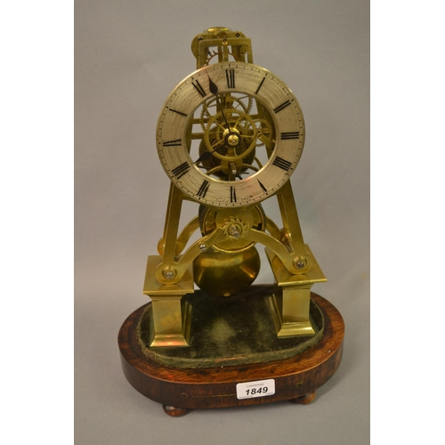 1849 - Thomas Cox Savory, 19th Century gilt brass skeleton clock, the silvered dial with Roman numerals ins...