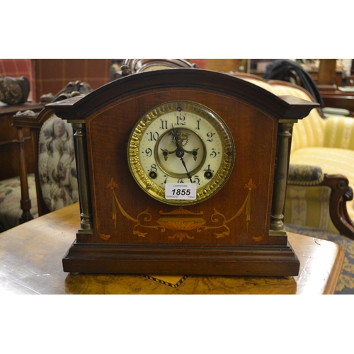 1855 - Edwardian mahogany and inlaid dome shaped mantel clock with a two train movement striking on a gong...