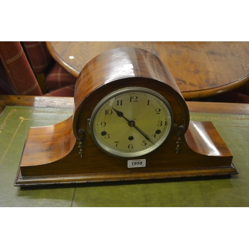 1858 - Early 20th Century mahogany three train mantel clock with silvered dial and Arabic numerals...