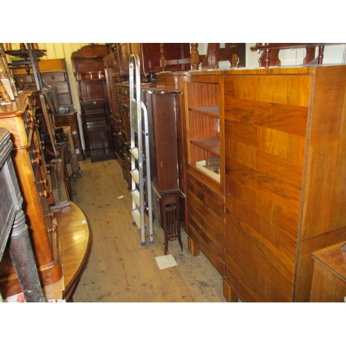 1888 - Mid 20th Century Continental figured walnut three section side cabinet, the centre with a door above...