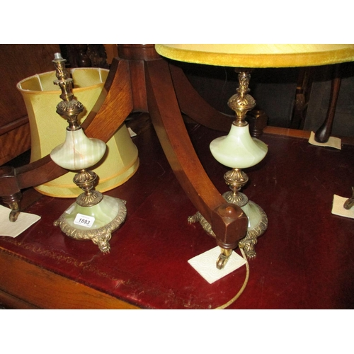 1893 - Pair of 20th Century gilt brass and onyx table lamp bases with shades, together with a 19th Century ...