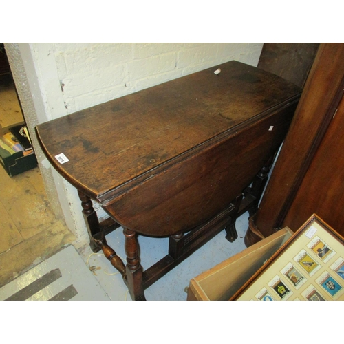 1899 - Small antique oak oval gate leg table on baluster turned supports together with a harlequin set of f...
