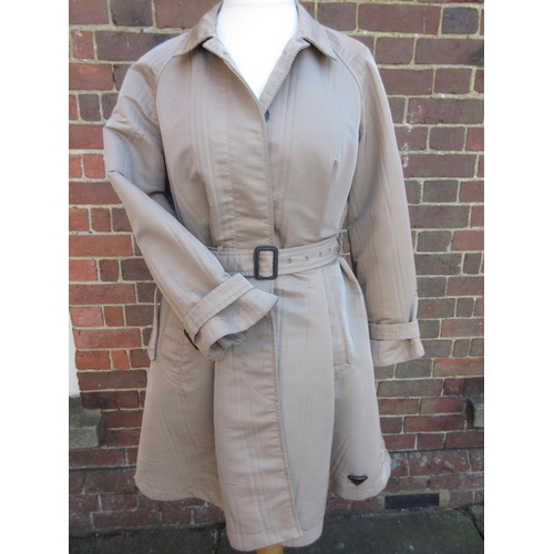 19 - Ladies Prada three quarter length raincoat with belt, size 42