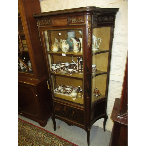 1901 - 19th Century French mahogany ormolu mounted vitrine with a glazed centre door with painted Vernis Ma...