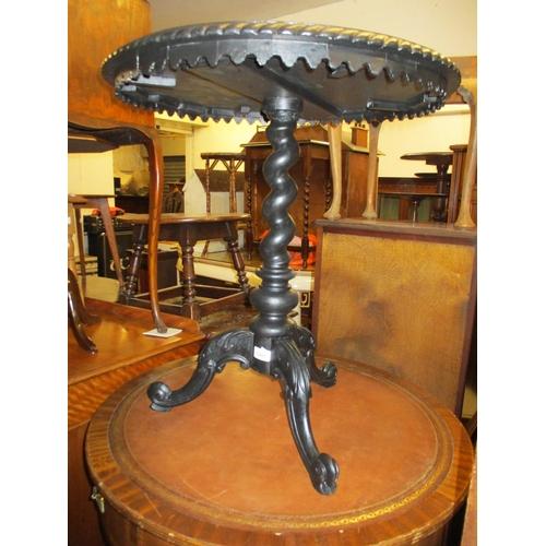 1905 - Modern black painted hardwood circular pedestal table with tripod base...