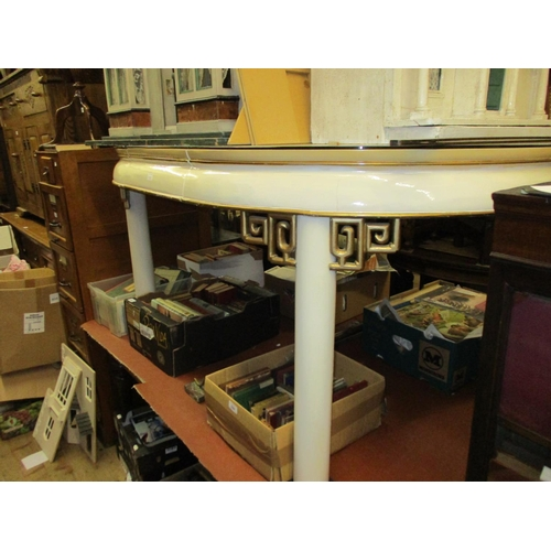 1908 - Mid 20th Century cream and white lacquer oval extending dining table with extra leaf, the top decora...