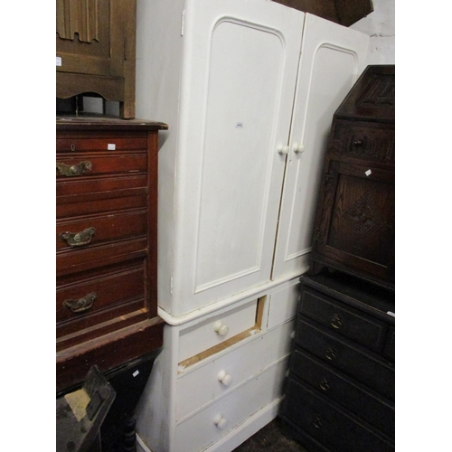1910 - 19th Century white painted pine linen press...