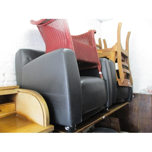 1916 - Pair of 20th Century black leather upholstered armchairs...