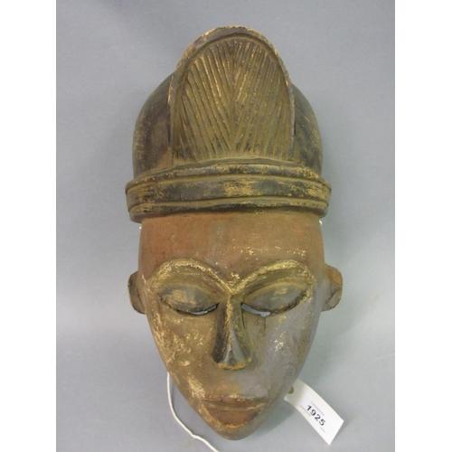 1925 - African Baule tribe carved wooden ceremonial mask...