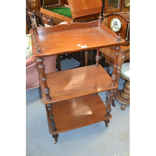 1931 - 19th Century mahogany three tier whatnot having galleried top and turned supports with brass and cer...
