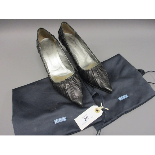 20 - Pair of Prada ladies black leather court shoes with kitten heels (resoled),  size 37.5, complete wit...
