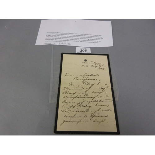 205 - Signed autograph letter in German by Victoria Princess Royal (Vicky), oldest daughter of Queen Victo...
