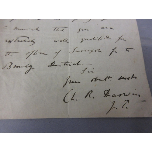 207 - Autograph letter dated the 8th May 1863 by Charles Darwin, written at his home, Downe House, Kent, t...