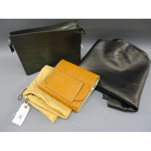 22 - Tanner Krolle green leather cosmetic / wash bag, together with another Tanner Krolle folding travel ...
