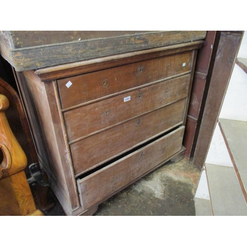2389 - Late 19th / early 20th Century mahogany chest of four long drawers on bracket feet (at fault)...