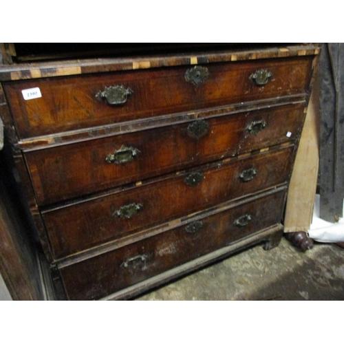 2390 - 18th Century tallboy base having four long drawers, raised on bracket feet (at fault)
