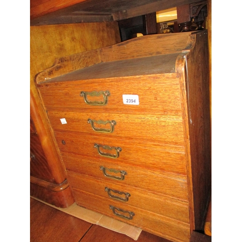 2394 - Late 19th Century oak six drawer table top collectors cabinet...