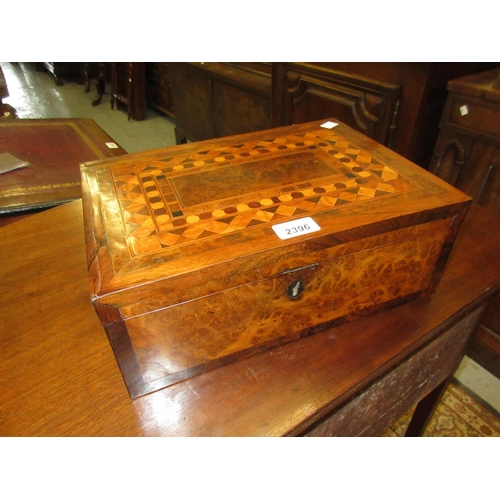 2396 - 19th Century amboyna, rosewood and parquetry inlaid writing slope, 13.75ins wide...