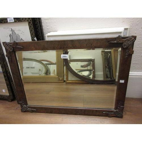2404 - 1920's Rectangular beaten copper bevelled edge wall mirror
