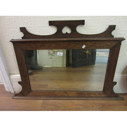 2405 - Small early 20th Century oak bevelled edge overmantel mirror