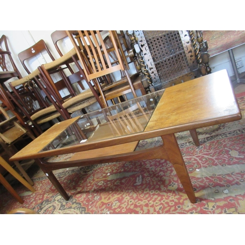 2414 - Mid 20th Century teak rectangular coffee table with glass inset top and undertier...