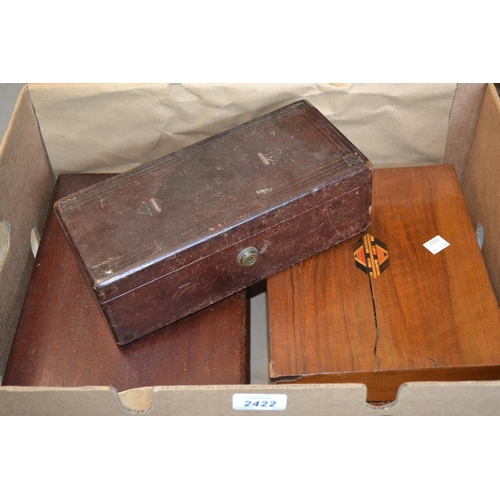 2422 - 19th Century red Morocco leather box with Bramah lock and label, together with a Victorian walnut an...